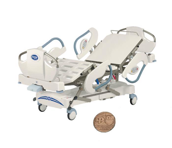 Łóżko szpitalne - LE-04 przeznaczone na Oddziały Intensywnej Opieki Medycznej ze szczytami i poręczami bocznymi wykonanymi w technologii rozdmuchu